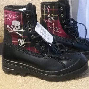 Polo Ralph Lauren Boots, Leather Plaid, New! 14